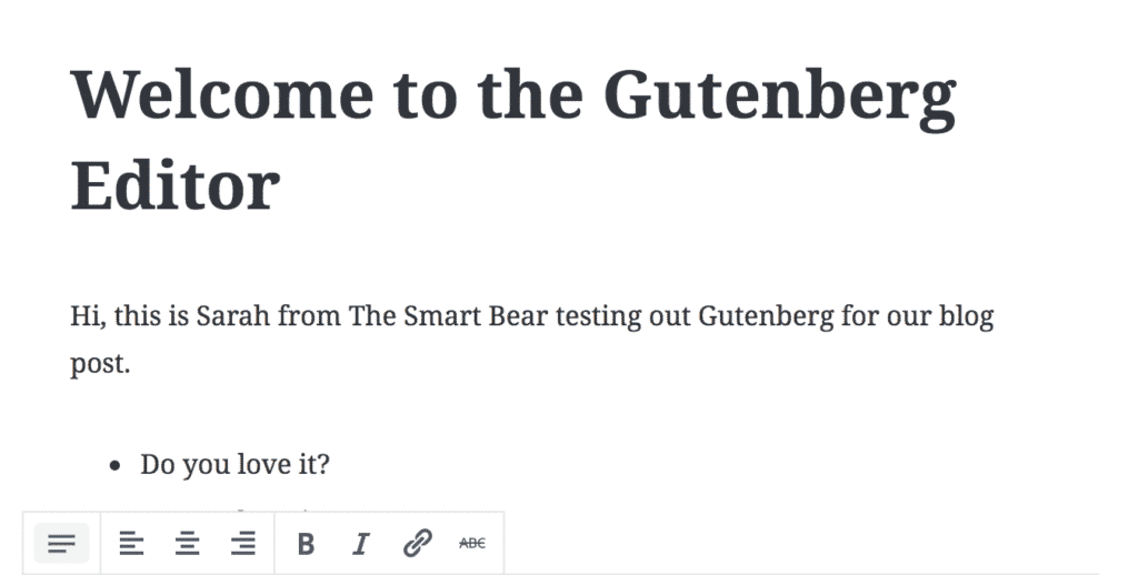 Gutenberg screen shot
