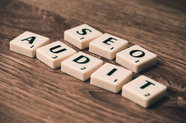 SEO audit in scrabble letters