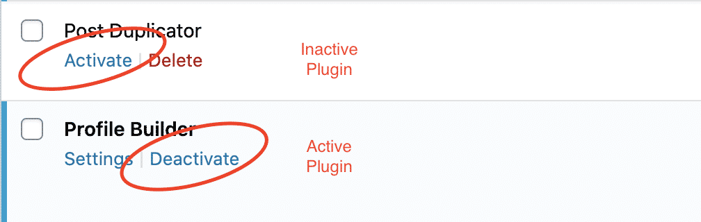 Active and Inactive plugin