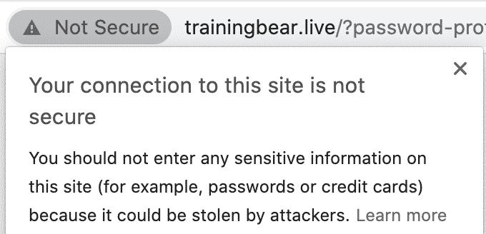 No SSL Padlock