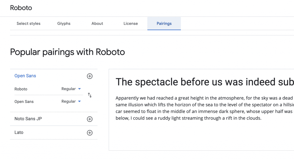 Google font pairings feature